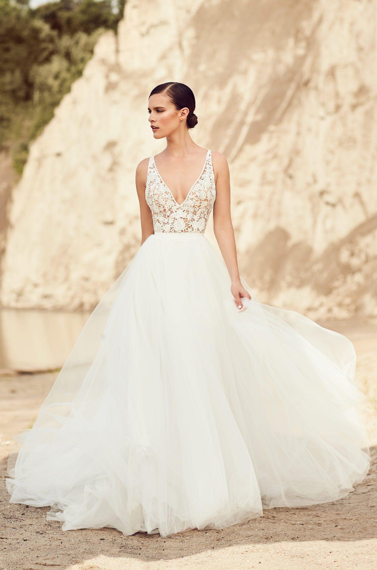 Lace v neck wedding dress  Mikaella   Wedding Ideas  Pinterest  Tulle skirts Bridal