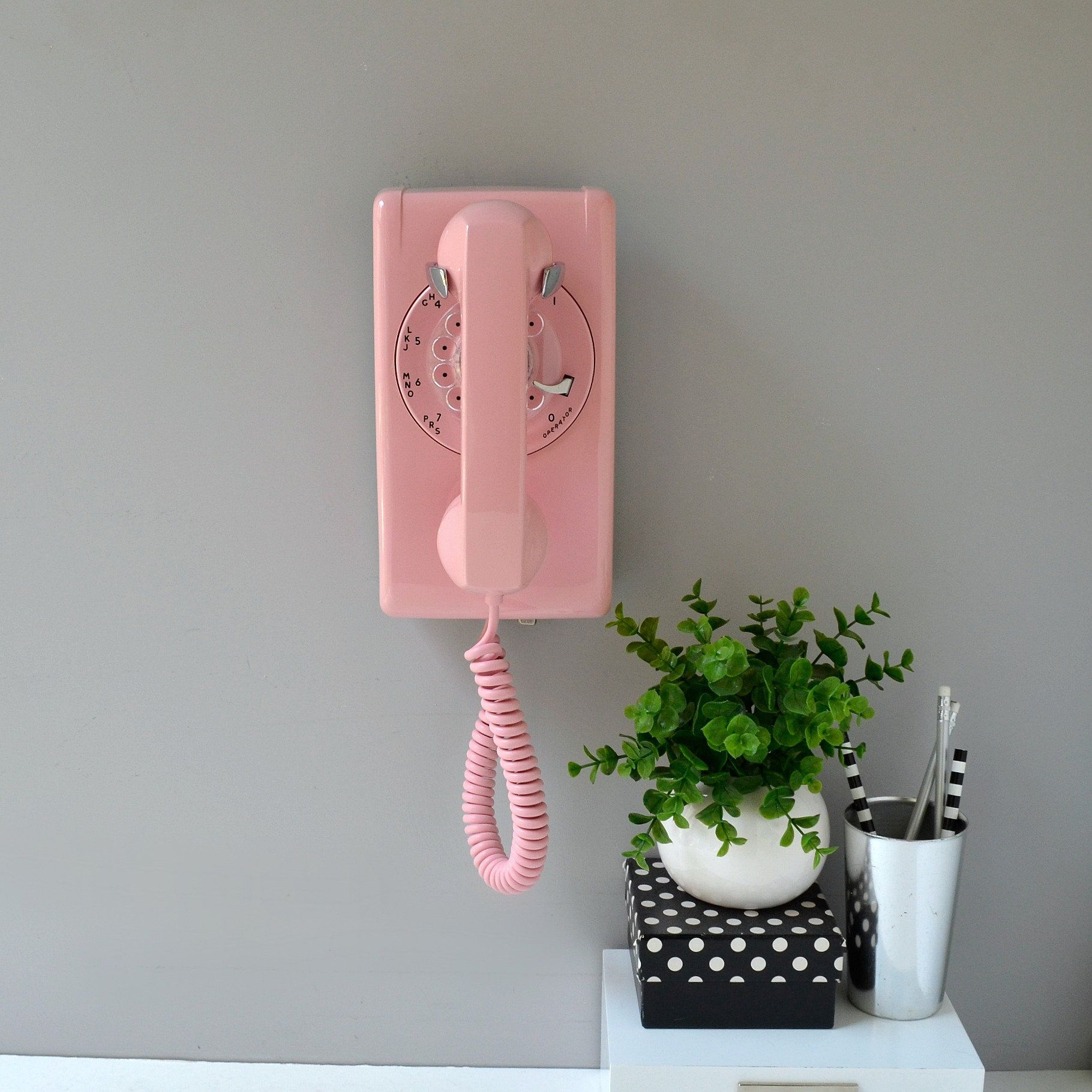 Pink Rotary Wall Phone Vintage Wall Mount Telephone Working Rotary Wall Phone Bubblegum Pink Retro Phone Vintage Phone Vintage Phones Retro Phone Wall Phone