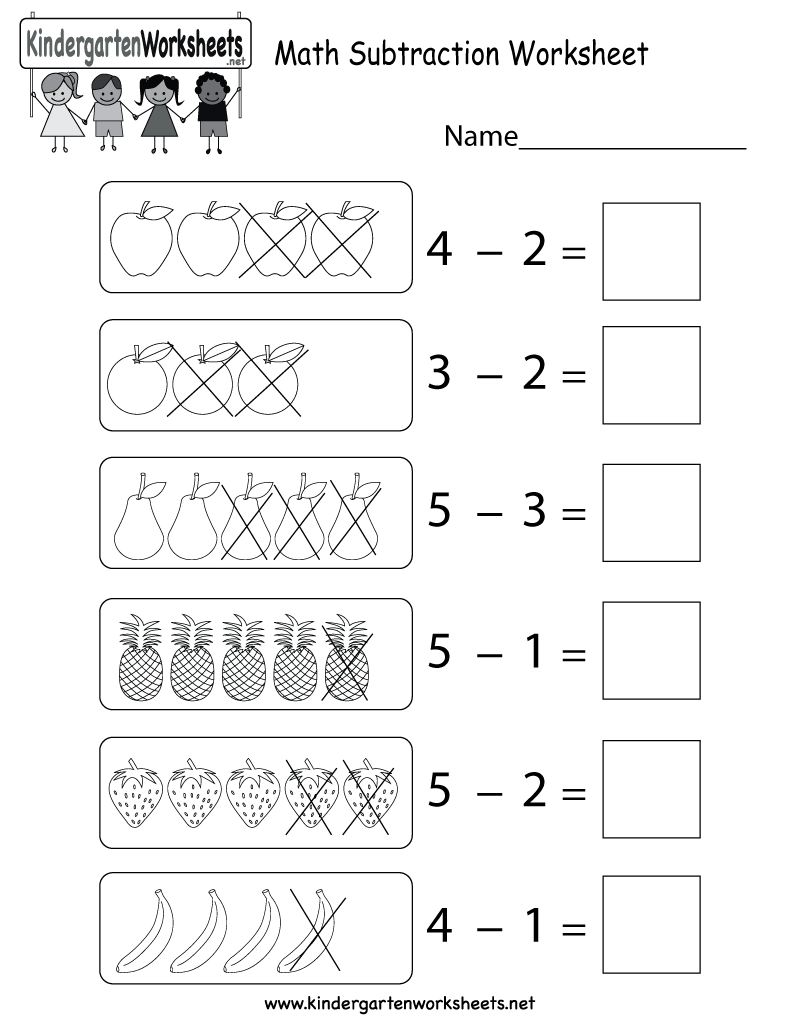 Math Subtraction Worksheet Free K [ 1035 x 800 Pixel ]
