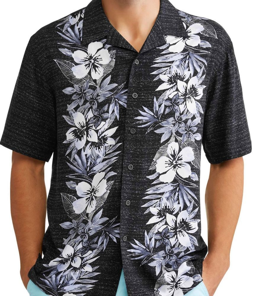 333f609f George Big Mens Floral Hibiscus Hawaiian Camp Shirt Up to 5X Black #George # Hawaiian