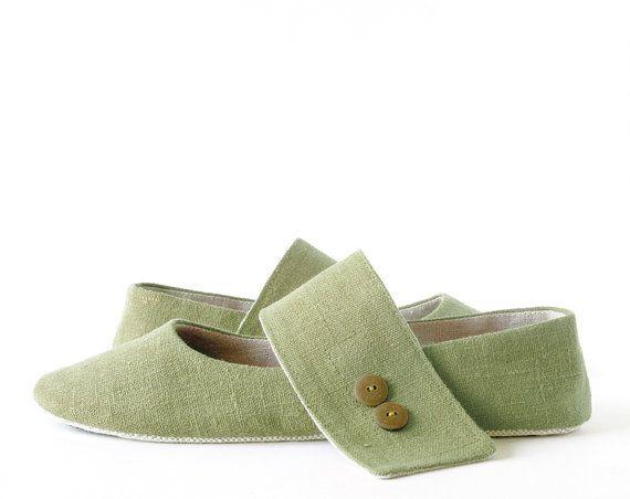 Zen Olivine green ballet flats slippers women house by