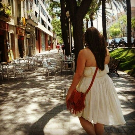 French Connection dress & primark bag. Barcelona.