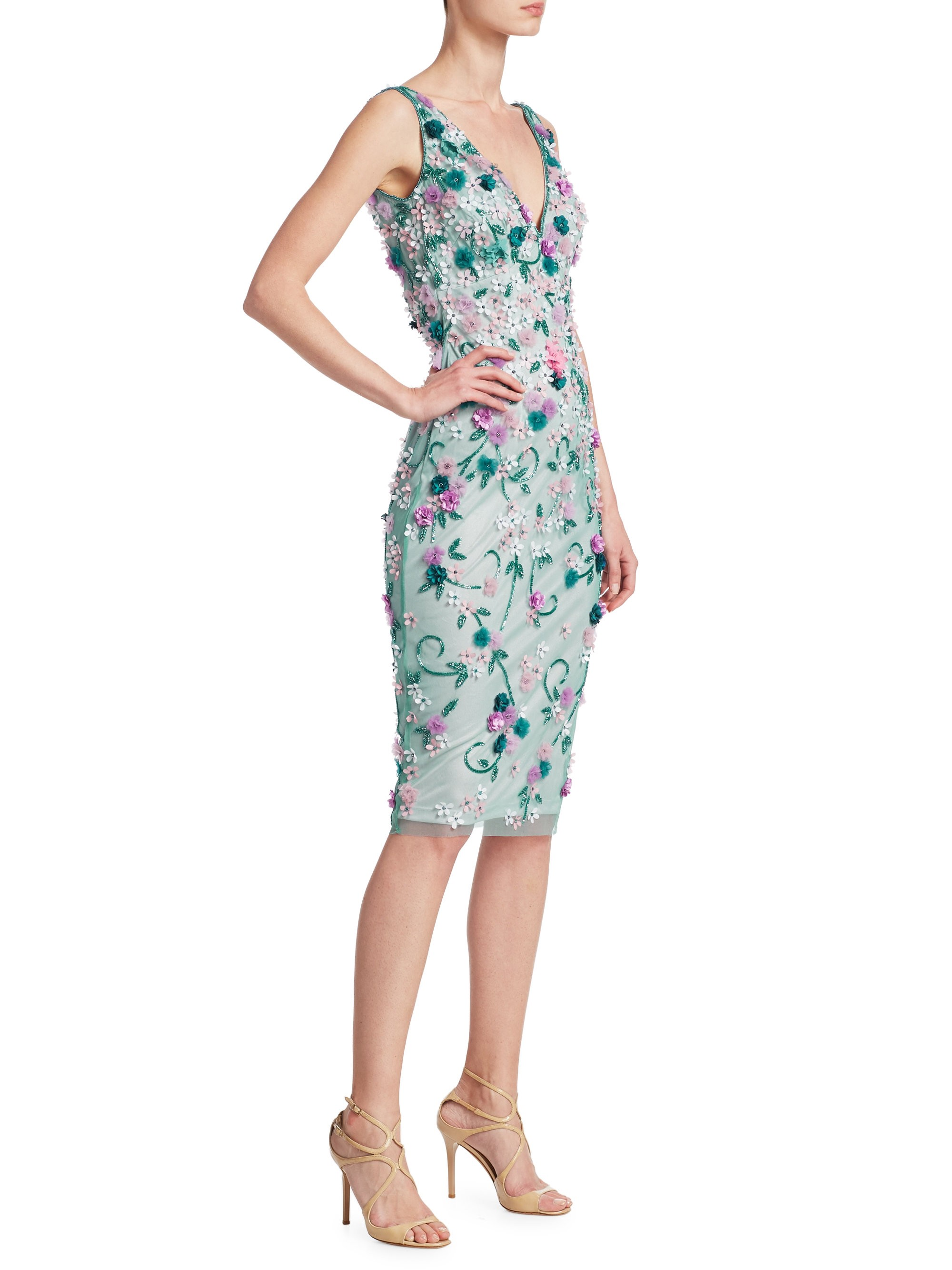Theia Embellished Cocktail Dress - Jade Multi 14 | Products
