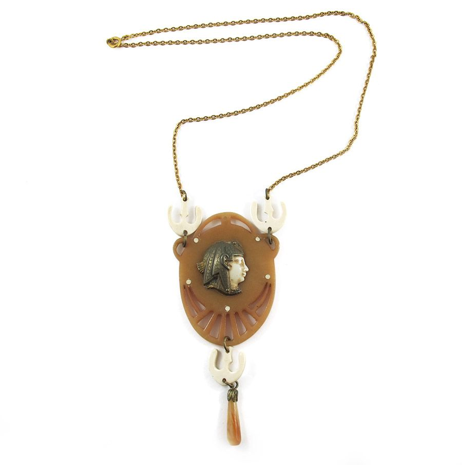 Vintage circa 1930's Galalith/Brass Necklace