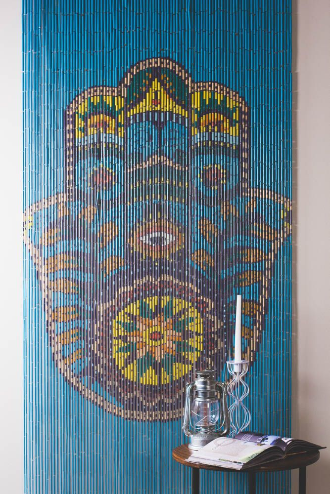 Walls doorways or just anywhere these hand painted door for Hand painted bamboo beaded curtains