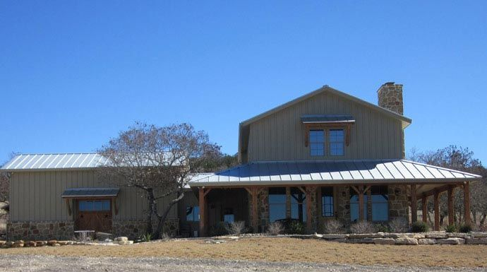 Lovely metal ranch home w wrap around porch in texas hq for Ranch style metal homes