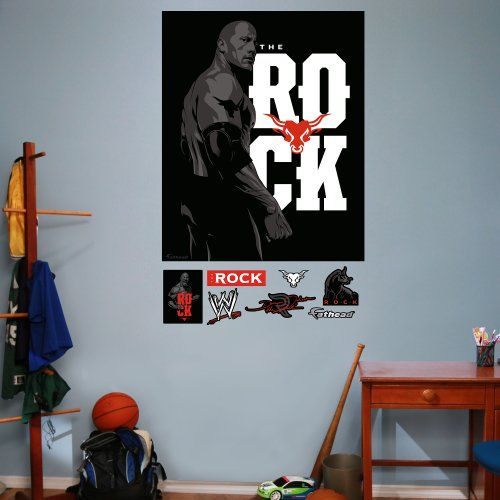 Fathead Wall Decal WWE The Rock Illustrated Mural Golden State