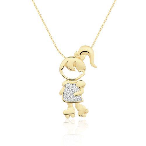 431bf90254017 Pingente Menina Patins Ouro Amarelo e Diamantes Mama   Baby Girl ...