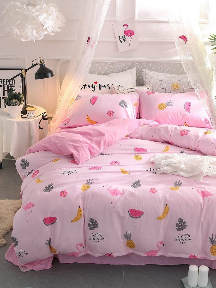c03e8f4b43 Fruit & Flamingos Print Sheet Set -SheIn(Sheinside)   New bed room ...