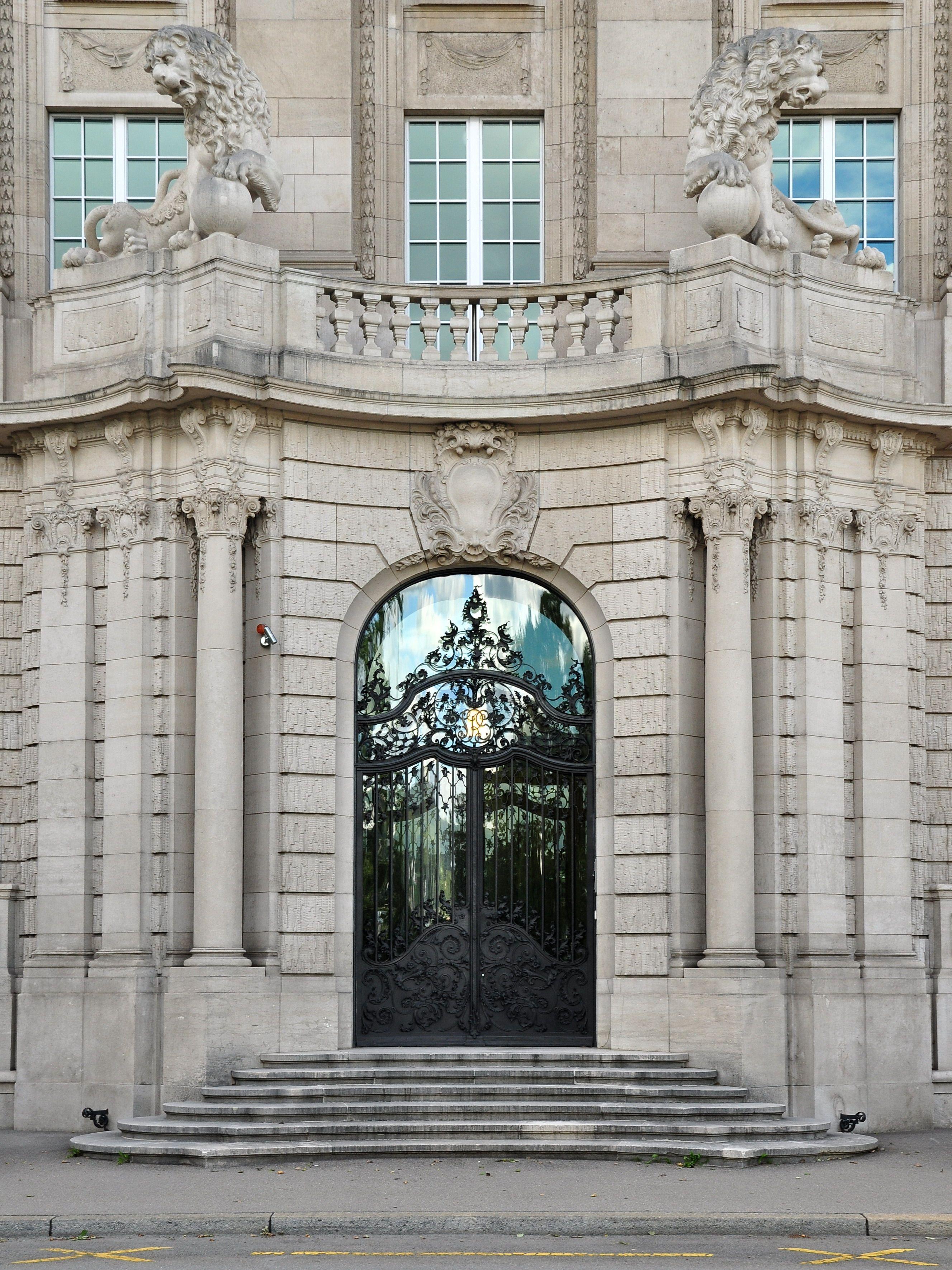 Original Entrance Into The Altbau Headquarters Of Swiss Re Facade Design Neoclassical Architecture Amazing Architecture