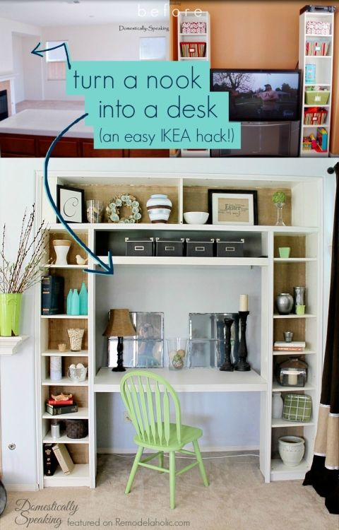 Use IKEA Bookshelves To Turn A Nook Or Closet Into Built In Desk Domestically Speaking Featured On Remodelaholic