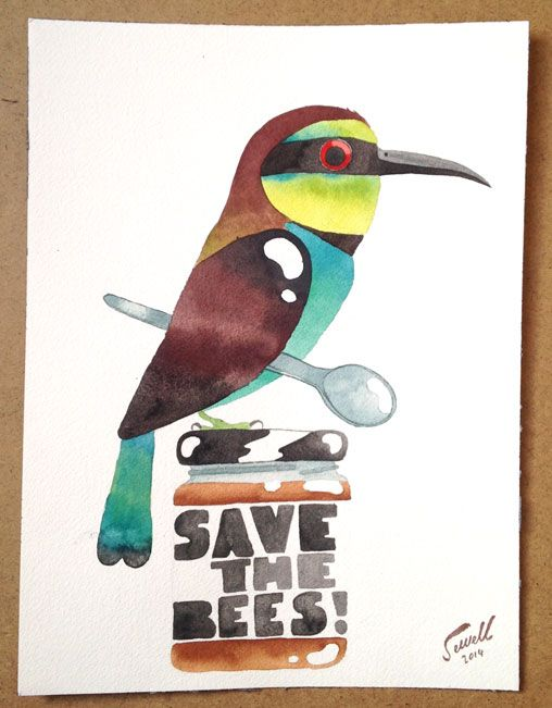 Matt Sewell - save-the-bees campaign painting   http://mattsewell.co.uk/