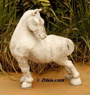 Garden Horse Statue. A Cute And Stubborn Horse His Head Turned Back Looking  Behind Him He Stands There Refusing To Work An Excellent Piece For A Patio  Or ...