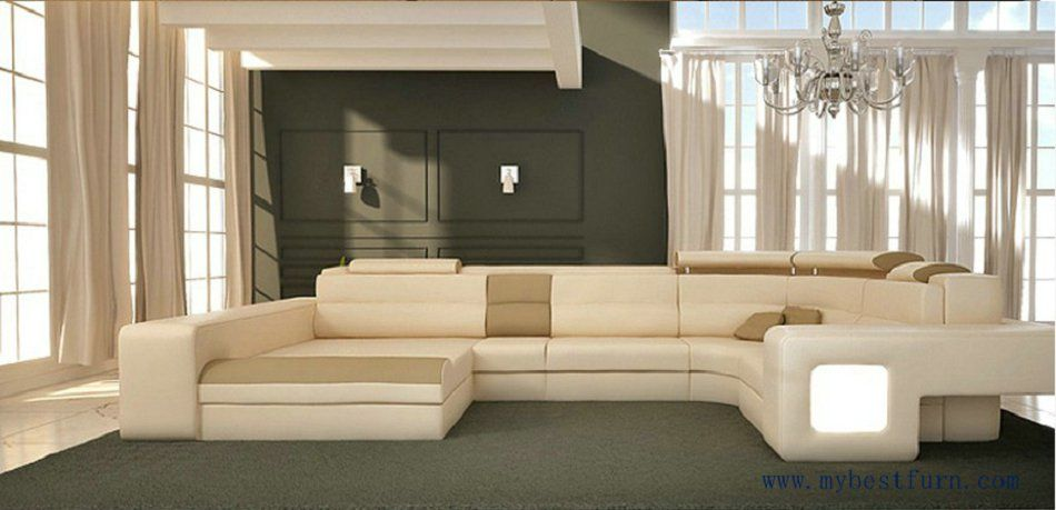 Free Shipping Modern Design Leather Sofa With Light Adjusted Fascinating Design Lights For Living Room Inspiration
