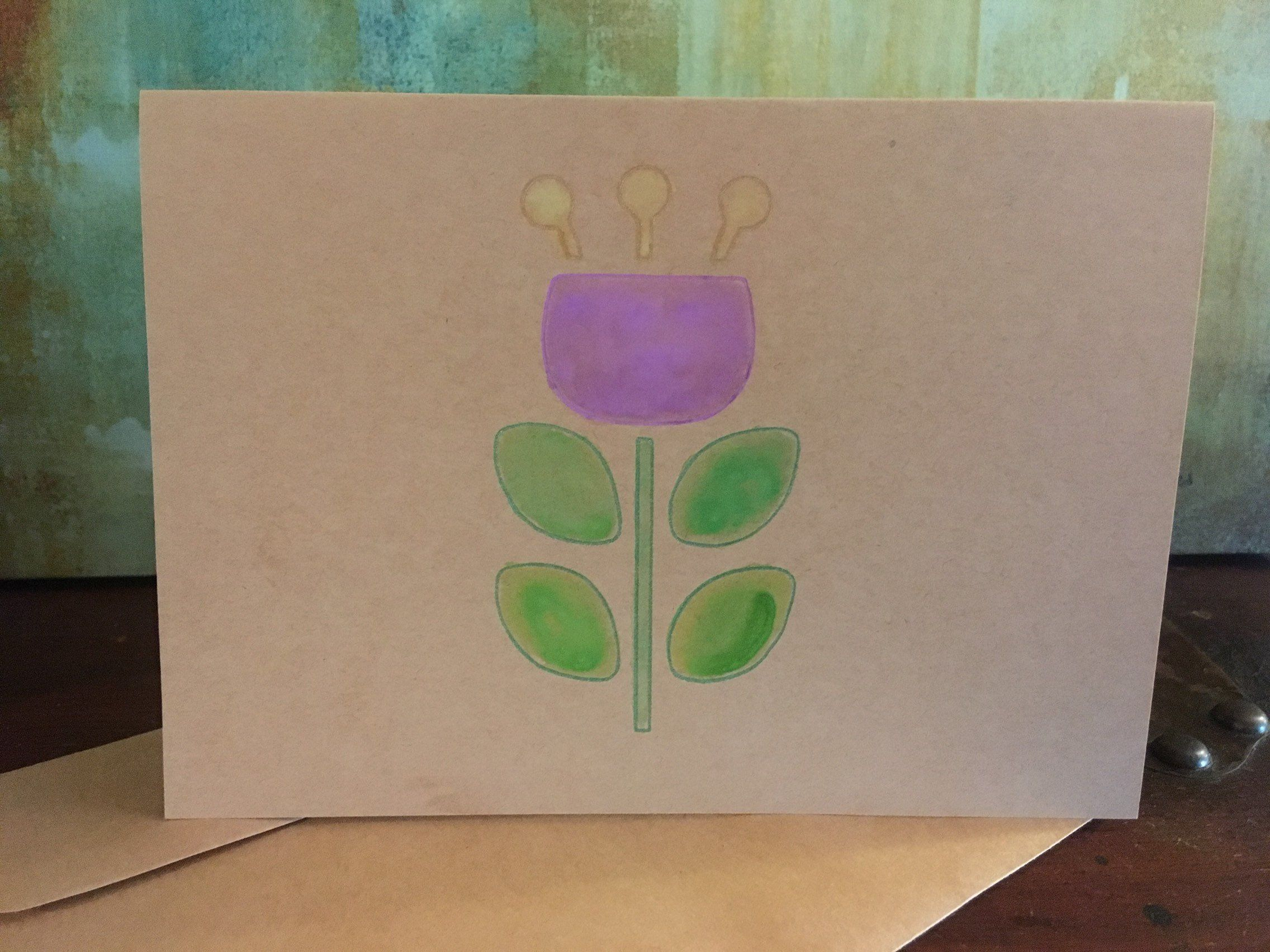 Flower Hand Painted Greeting Card Blank Tulip Card Blank Note Card