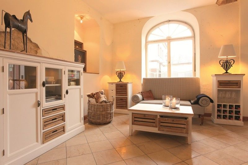 Couchtisch Burgund - Antik Look - weiß graubeige - lackiert - wohnzimmer weis grau beige