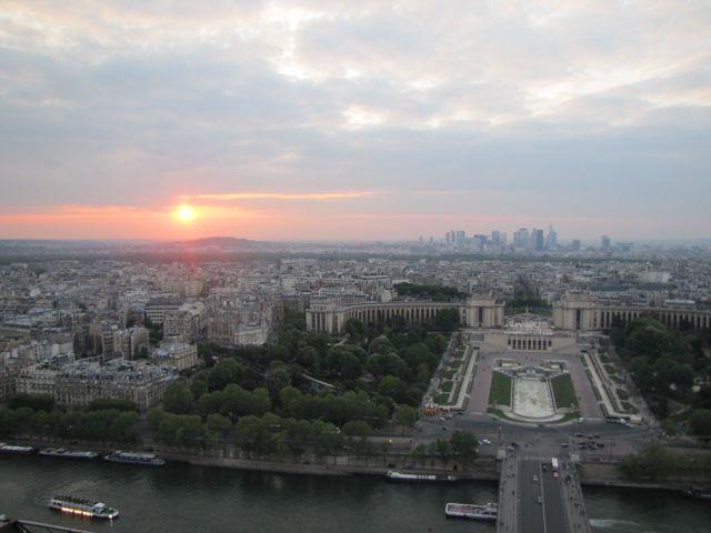 Paris, Top of Eiffel View - Sunset - Downtown Paris afar….
