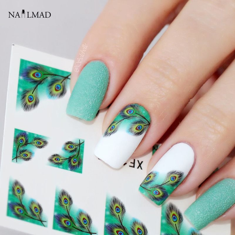 1 Sheet Colorful Feather Nail Water Decals French Edge