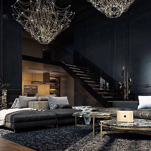 Penthouse Condo Goals: Modern Glass Stairs, Cool Dark