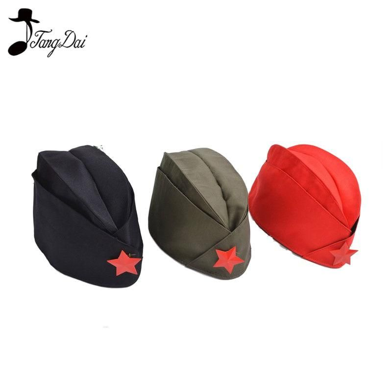 8d6c24c54b3a5 Russian Soviet Red Army Red Star Military Garrison Caps Girls Unique Army  Green Uniform Hat Caps