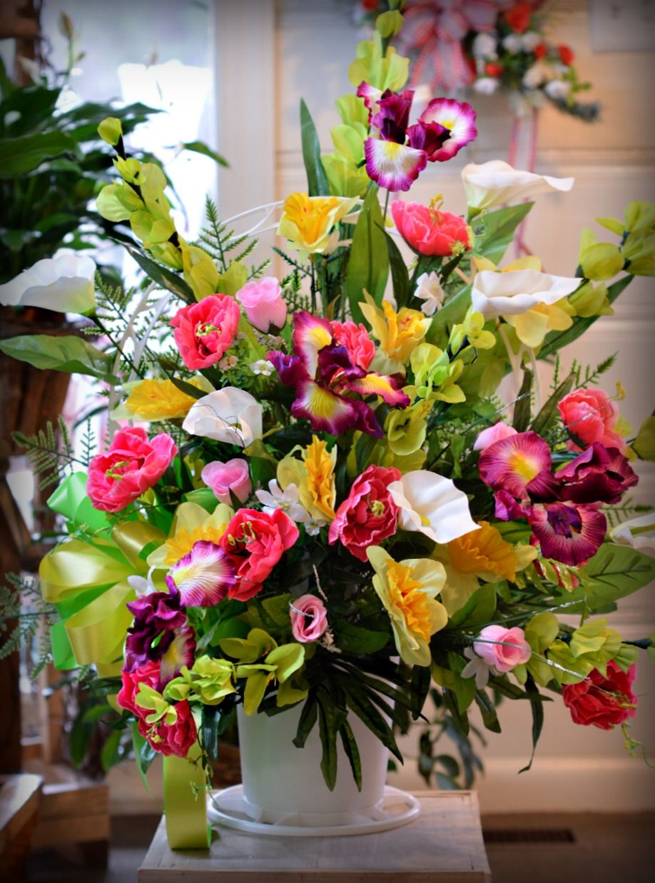 Silk Sympathy Basket For The Grave Designed By Maxs Flower Shop