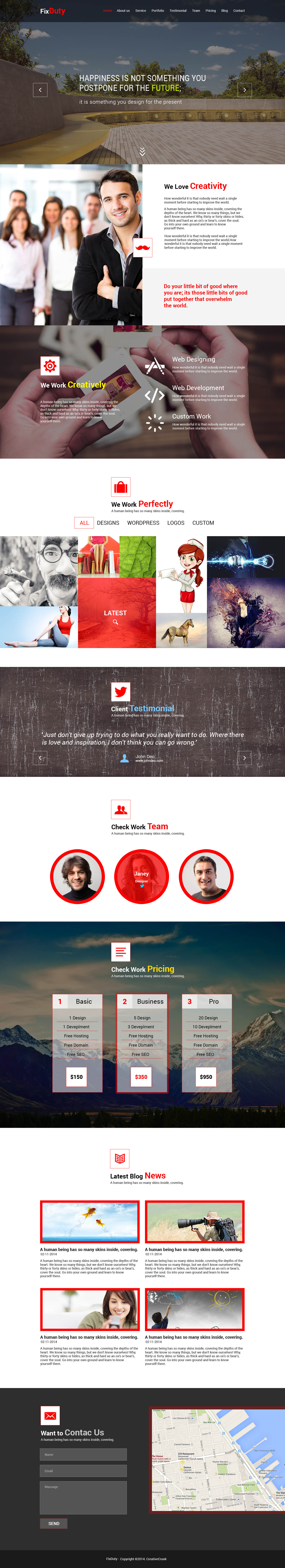 Parallax Website Template Fixduty  Parallax Psd Template  Preview  Web Inspi & Ressources