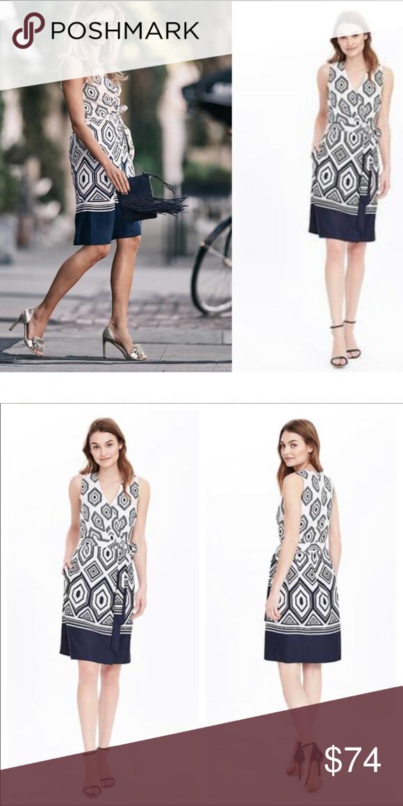 388f582a145 Banana Republic geometric print wrap dress TALL Blue and white. Size 6  Tall. Banana Republic Dresses Midi