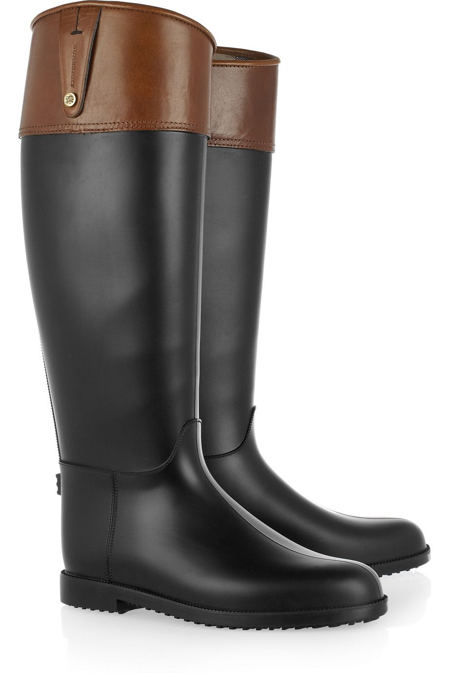 01f1d4bcd The most beautiful rain boot that doesn t look like a rain boot - Burberry  Leather Top Rubber Wellington Boots in Tan