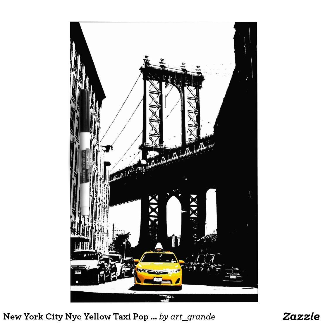 New York City Nyc Yellow Taxi Pop Art Dry Erase Board