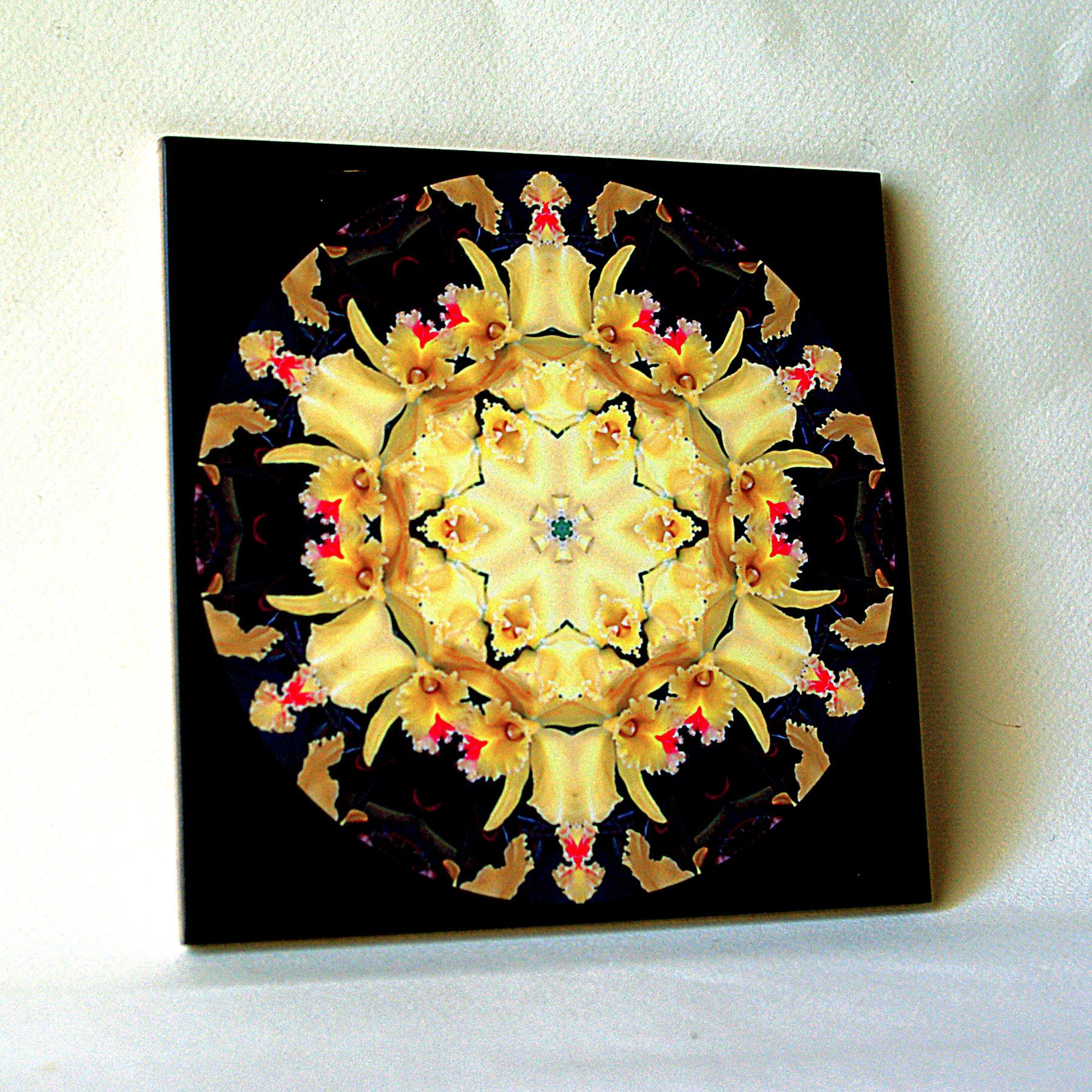 Orchid kaleidoscope, mandala, ONE decorative wall tile, floral tile ...