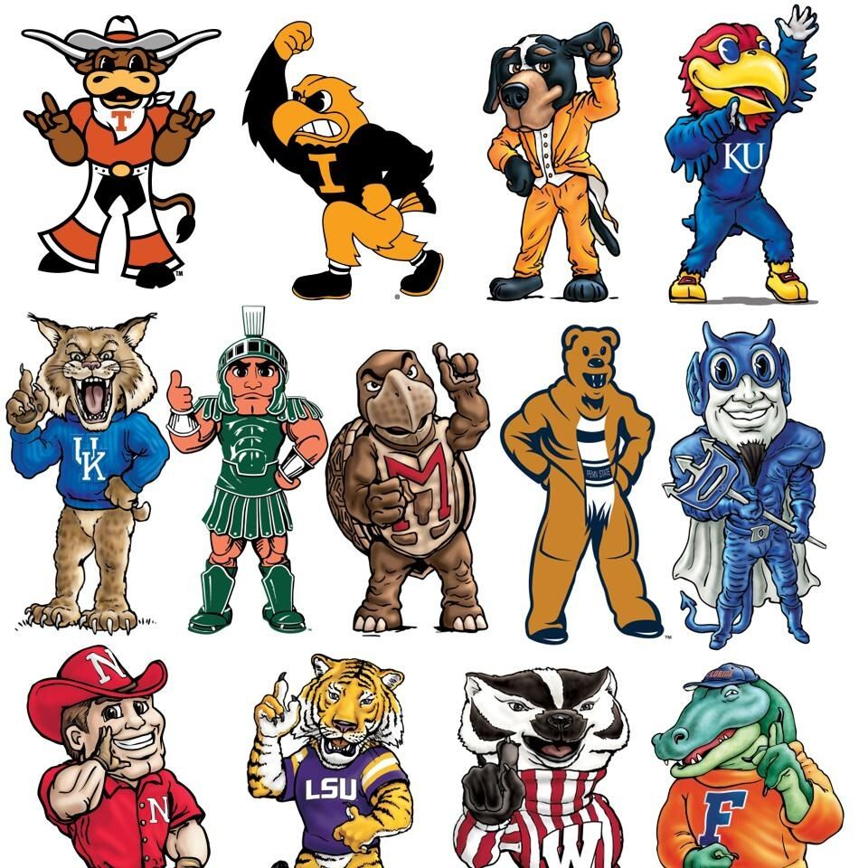 College Mascots! Reminds Me Of College Days...the Good