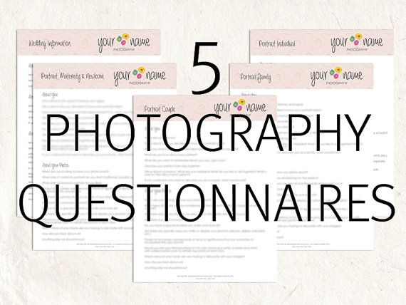 Photography Business Forms Questionnaires Portrait And Wedding Marketing Branding 10 Editable Files
