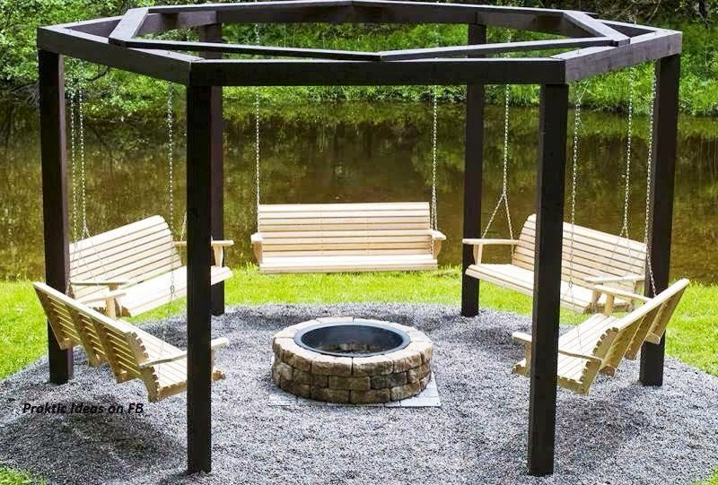 Idea for friends and family to chat . Swings with firepit | Backyard, Fire pit swings, Fire pit ...