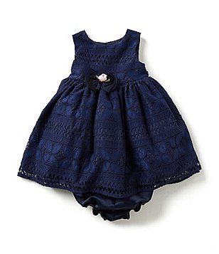 Laura Ashley London Baby Girls Newborn 24 Months Lace Dress Oh