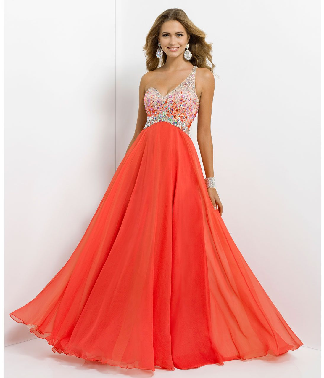 Blush prom dresses persimmon one shoulder jeweled prom gown