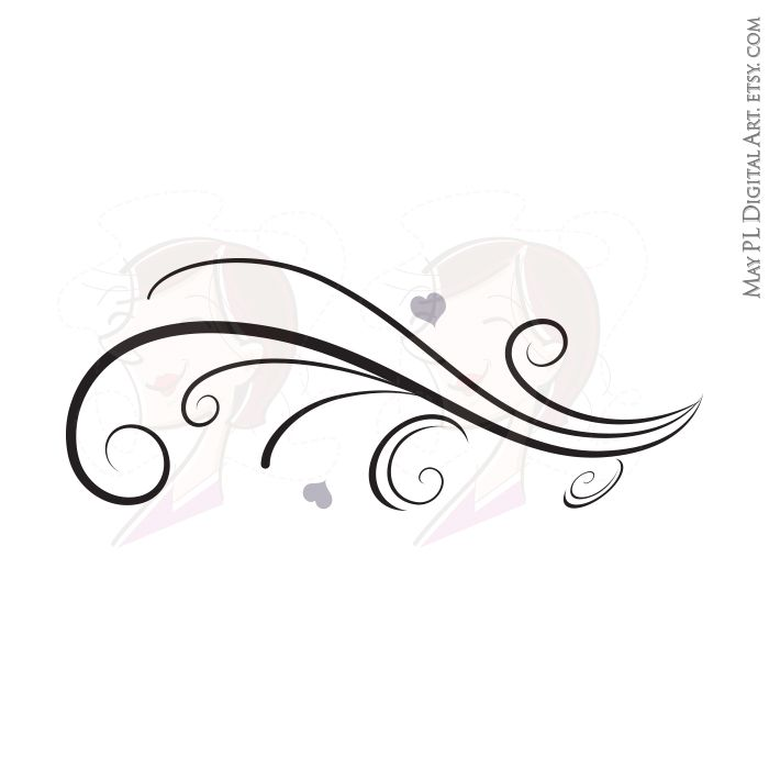 Curved Line Design Clipart : Vintage horizontal curved flourish curls beautiful borders