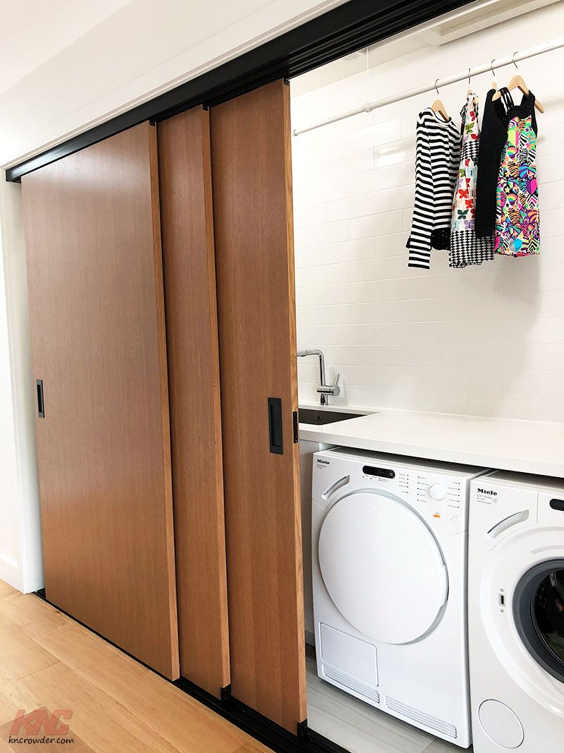 A Laundry Lover S Dream Come True Three Connecting Doors Hide Away This Second Floor Laundry Area And L Sliding Doors Sliding Door Track Sliding Closet Doors