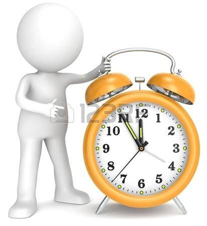 Personaje al lado de un reloj amarillo,  Faltan 5 para las 12.