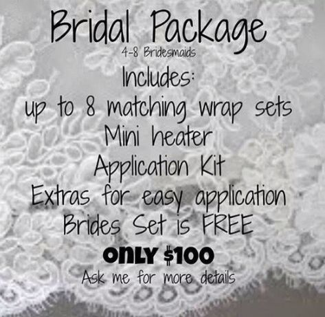 I'm offering bridal packages.  Contact me for your free consultation... Www.wendywong.jamberrynails.com.   Catalunga@mail.com