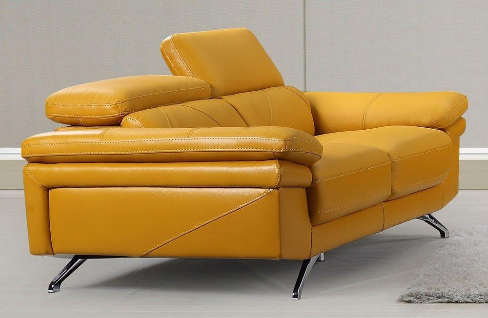 Yellow Leather Sofa Modern For Residence House Design Ideas Koltuklar