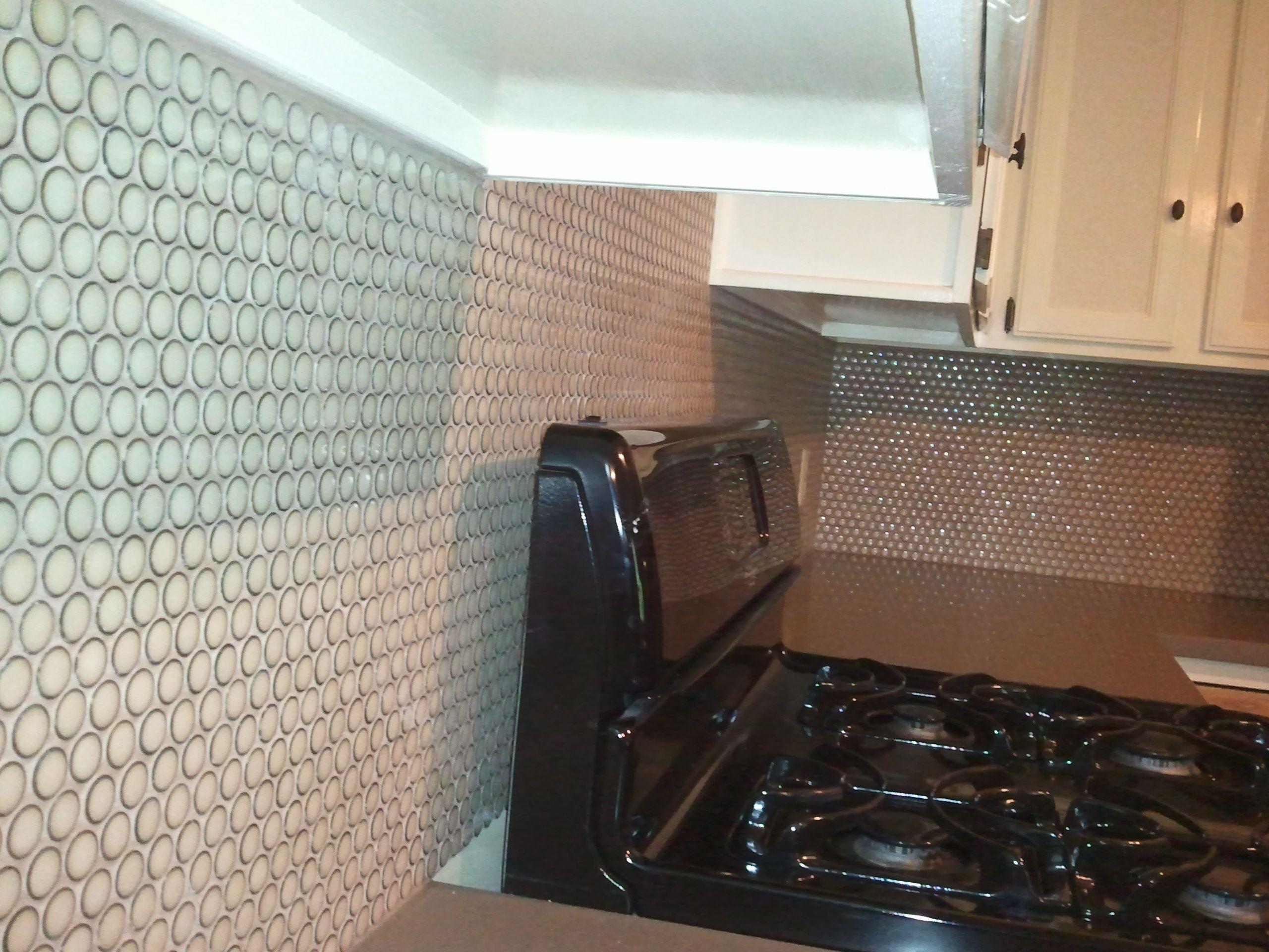 penny tile backsplash kitchen pinterest