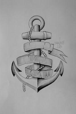 Photo of anchor banderole tattoo sketch — Benten Tattoo Chemnitz. Der Tätowierer für …
