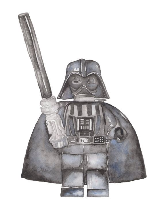 Watercolor Print Lego Star Wars Figurine 8.5 x by KateBoyingtonArt
