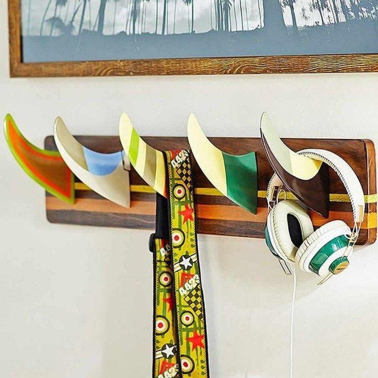 Surfboard fins as a coat hook within the boys room #SurfHouseDecor