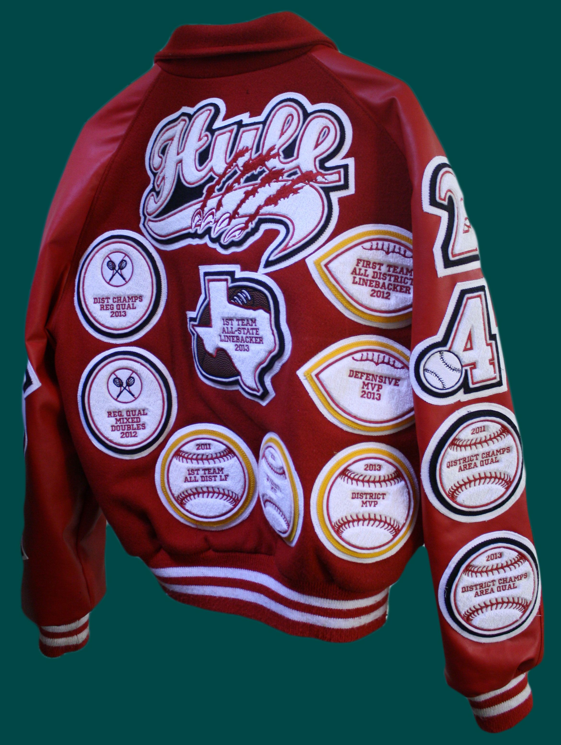 6b2243ab7 Hall-of-Fame Letterman Jacket package deal. Comes with leather sleeve letterman  jacket and all the custom varsity patches you need in any style!