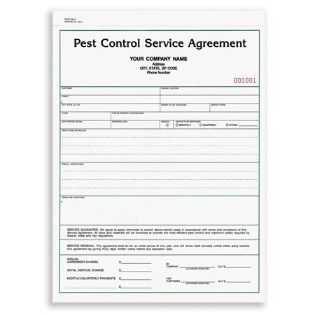 PCCC-882, Pest Control Service Agreement Pest Control Forms - service agreement