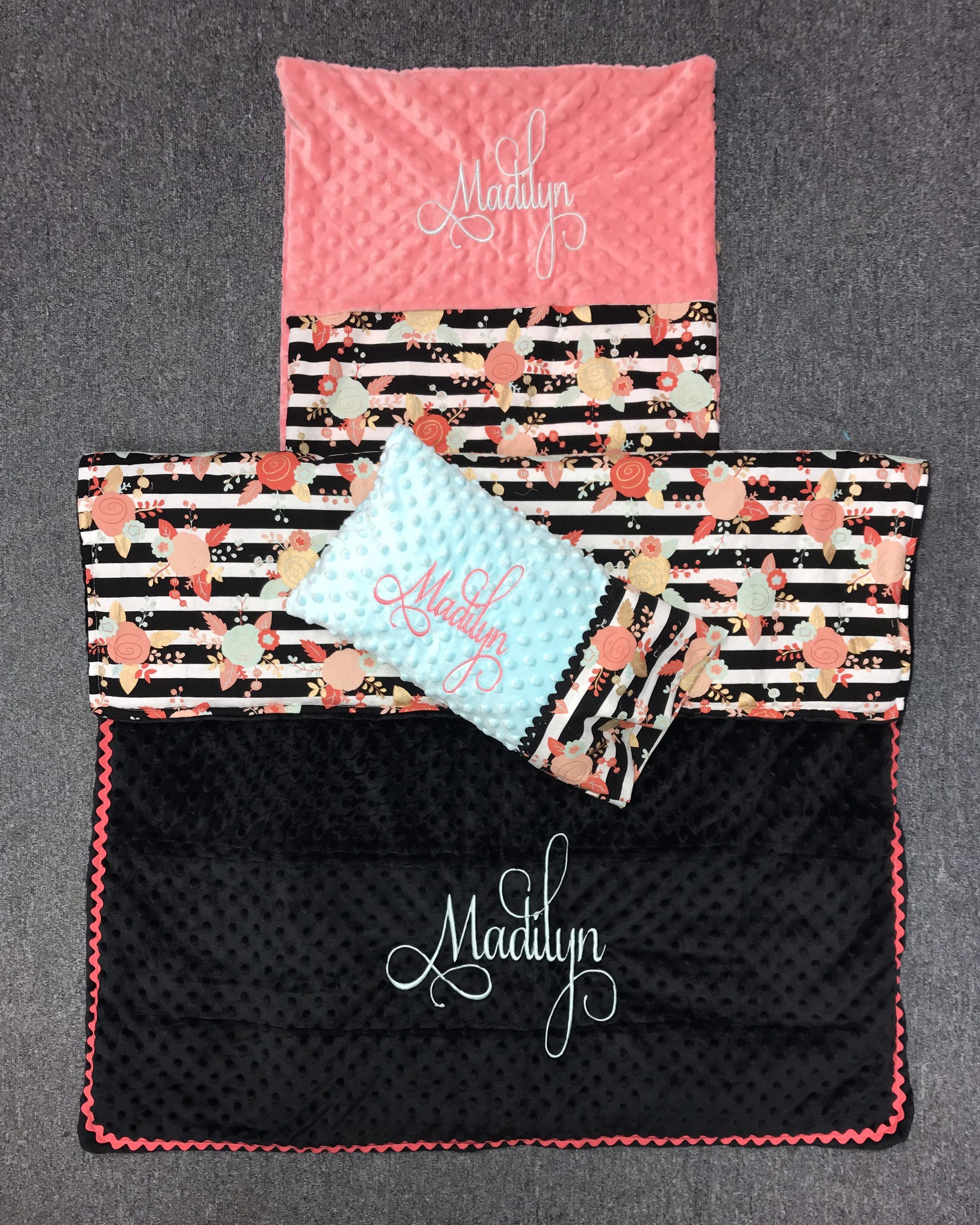 Custom embroidered floral nap mat cover and blanket