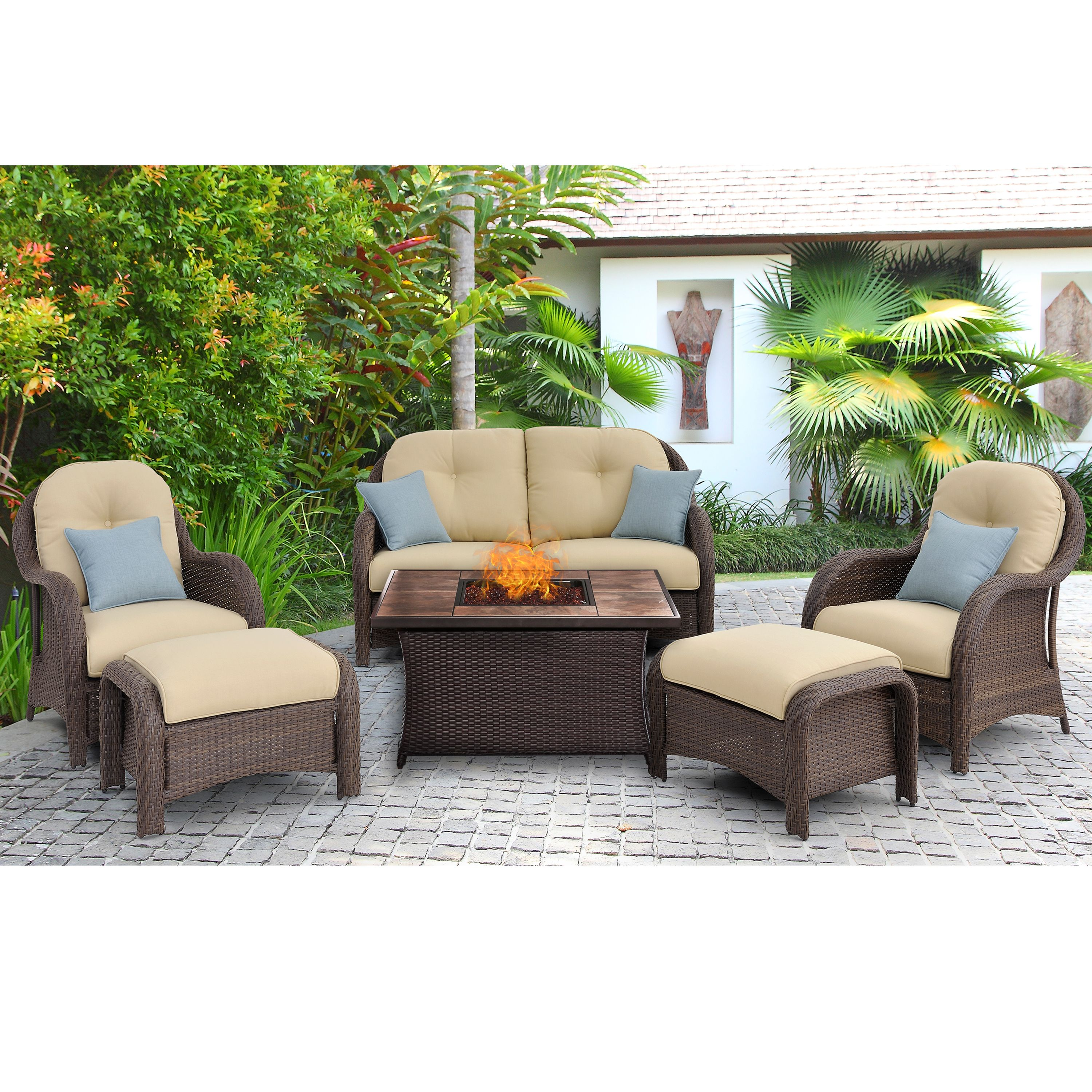 Hanover Newport 6 Piece Woven Seating Set In Cream With Fire Pit