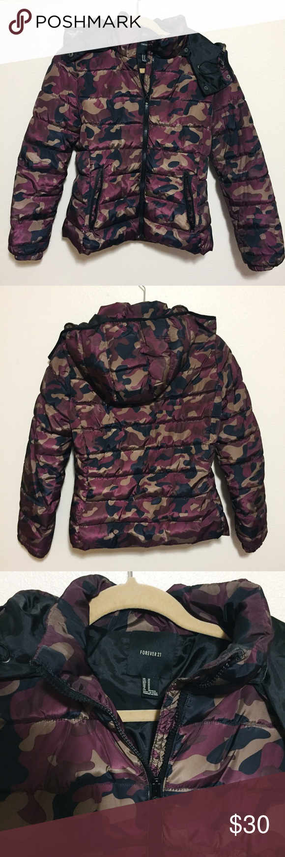 81d41228cb64f Forever 21 puffer jacket burgundy camo Burgundy camo puffer jacket. Brand  new without tag. Hood can be removed. Forever 21 Jackets & Coats Puffers