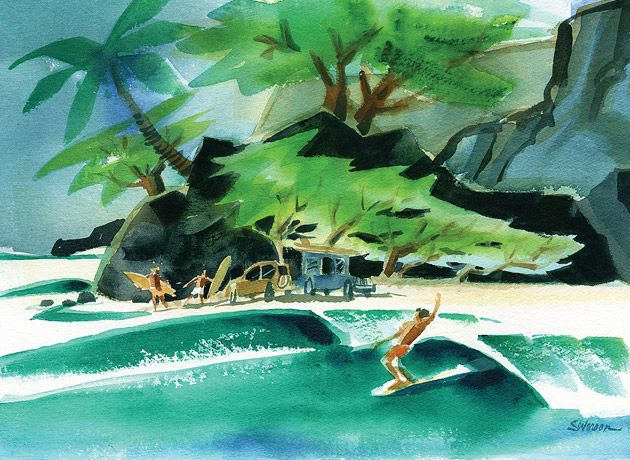 Watercolor - John Severson is not only a noted surfer, but surfing's leading artist too.